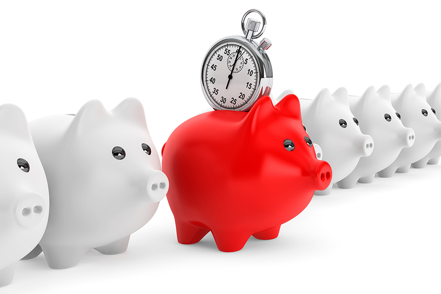 Piggy bank with clock